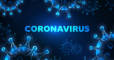Futuristic coronavirus cells abstract background with glowing low polygonal virus cells and text on dark blue background. Immunology, virology, epidemiology concept. Vector illustration. (Futuristic coronavirus cells abstract background with glowing l